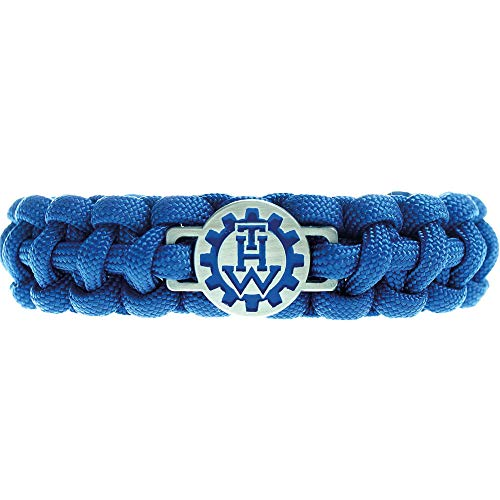 THW | Paracord-Armband | THW-Emblem | Survival Camping Outdoor | Technisches Hilfswerk | Parachute-Cord | Größe S-XXL | Schekel-Schraub-Verschluss | Blau | Geschenk Schmuck | (XXL (20-21cm))