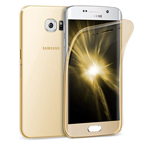 Zhinkarts Handy Hülle für Samsung Galaxy S6 Edge - Full Body 360 Grad TPU Silikon Crystal Case - Komplett Schutzhülle Cover in Gold Clear