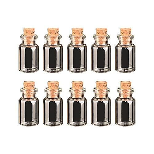 10 botellas de cristal mini de los deseos de 1 ml frascos transparentes con tapones de corcho DIY botellas decorativas para el hogar adornos