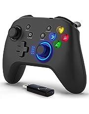 ワイヤレスコントローラー pc 2.4G無線ゲームパット 背面ボタン マクロボタン HD二重振動機能・連射機能・キーの組み合わせ機能 LEDバックライト 約8時間使用可能 有線と無線両用 USBレシーバ付き JD-SWITCH機能 背面ボタンコントローラー Type-C急速充電 Direct Input/X Input両方式 PC/Switch/Androidに適応