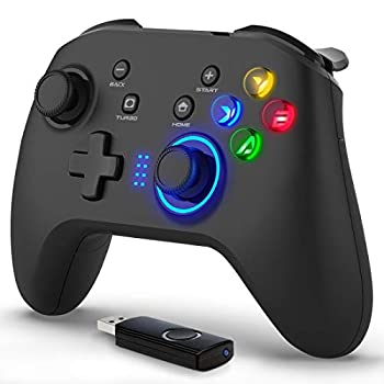 Forty4 Wireless Gaming Controller Dual-Vibration Joystick Gamepad Computer Game Controller for PC Windows 7/8/10 PS3 Switch- Black