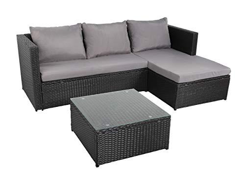 BENEFFITO NAVAGIO - Muebles de jardín Trenzado de Resina 3 plazas - Modular - Sofá de Esquina - Daybed - Mesa de Centro Cuadrada 60x60 cm - Negro Gris