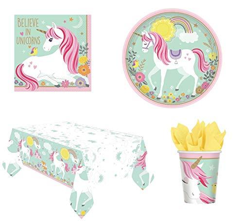 CAPRILO Lote de Cubiertos Infantiles Decorativos Unicornio Mágico (32 Vasos, 32 Platos, 32 Servilletas y 2 Manteles) .Vajillas y Complementos. Juguetes. Cumpleaños, Bodas, Bautizos, Comuniones.