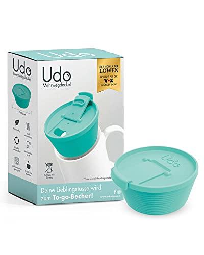 Udo® Mehrweg-Deckel | Macht deine Lieblingstasse zum Coffee To Go Becher | Wiederverwendbar, Lebensmittelecht & Spülmaschinen-geeignet | Für Tassen mit Ø 72-82mm (türkis)