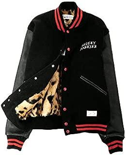 【アウトレット品】 [ワコマリア] 18AW 日本製 VIRSITY JACKET-B TYPE2 バーシティ ジャケット レオパードファー ロゴ刺繍 スタジャン BLACK メンズ