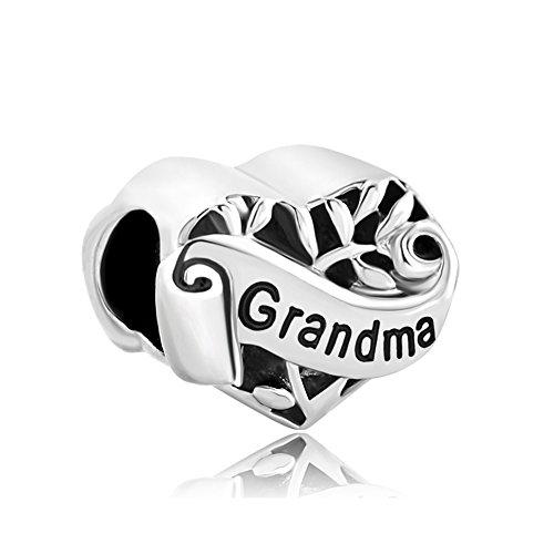 Uniqueen Ciondolo a forma di cuore, decorato con l'albero della vita e la scritta 'I love you', adatto per bracciale Pandora, base metal, cod. DPC_YC16