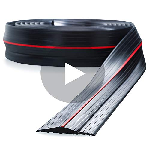 Garage Door Threshold Seal 20ft - PVC Rubber Garage Threshold Seal with Raised Edge and Red Strip - Keep Your Garage Free of Water and Debris - Garage Door Seal