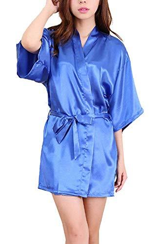 Damas Satin Kimono Camisón Noche Cálido Shea Camisón Casuales De Mujeres Baño Corto Bata De Seda De Los Hombres Bata (Color : Blau, Size : S)