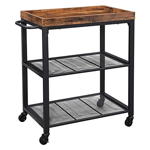 VASAGLE INDESTIC Kitchen Serving Cart, Universal Casters with Brakes, Leveling Feet, Kitchen Shelf with Mesh Shelves, 23.6 x 15.7 x 29.5 Inches, Rustic Brown ULRC75BX