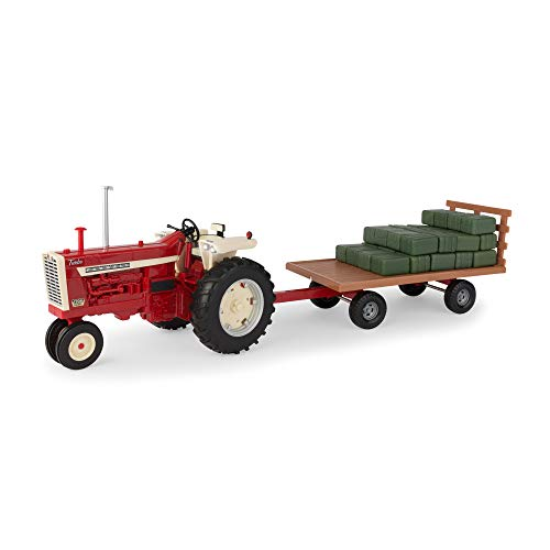 ERTL 1: 16 Big Farm Narrow-Front Tractor Toy & Toy Wagon with 36-Ct. Hay Bale Set