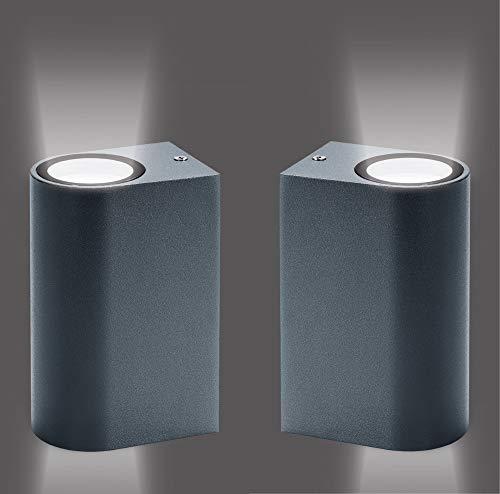 Trango Pack de 2 lámparas LED 8012-RSA2 IP44 de aluminio, redondas, antracita, negro, con sensor crepuscular (encendido automático día y noche), para exterior e interior, para 2 bombillas LED GU10