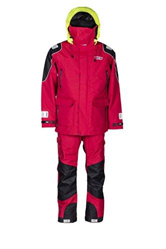 WESTCOAST Damen/Herren (Unisex) Ölzeug Offshore Segelbekleidung (Jacke + Hose), Rot/Gelb, XS bis XXL, Übergrößen 3XL bis 5XL - Rot - S
