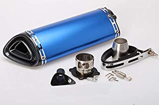 5 Colors Universal Escape Moto Motorcycle Motorcross Scooter Exhaust Pipe Muffler Fz6 Z750 Z800 R3 R6 Mt03 Fz1 Fz8 R1 Mt03 Mt07 (Blue)