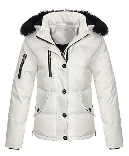 Malito Damen Winterjacke mit Fell | gefütterte Kurzjacke | Jacke mit Kapuze - Steppjacke JF1841 (weiß, S)