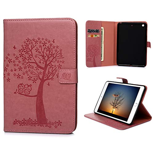 Vogu'SaNa Tablet Case Compatible for iPad Mini4/3/2/1 Leather Protective Flip Cover Owl Tree Pattern Cover Stand Card Slots Magnetic Cover