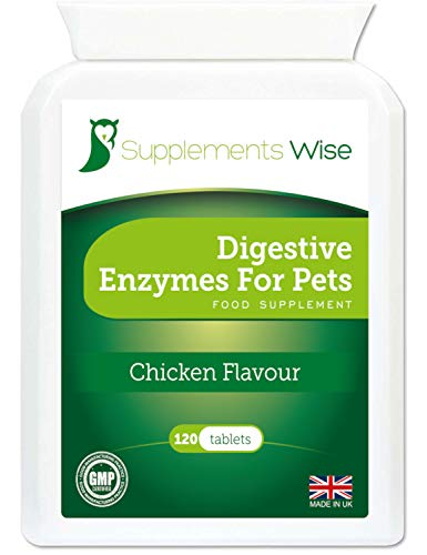 Digestive Enzymes For Dogs and Cats - 120 Tablets - Specially Formulated Blend With Pancreatic Enzymes For Dogs - Relief From Stomach Issues Including Diarrhoea, Wind and Bloating - Chicken Flavour