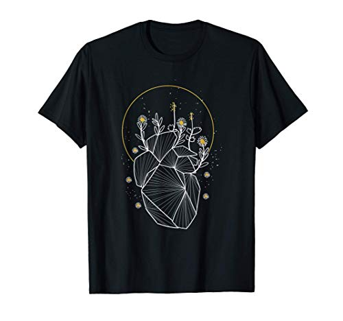 Moon Line Geometric Anatomical Heart Flowers Space Art Gift T-Shirt