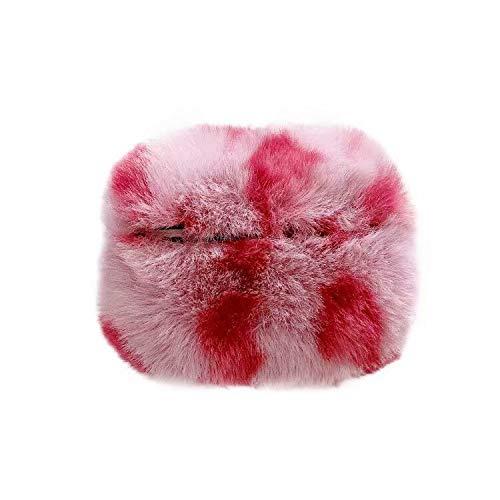 Miagon für AirPods Pro 2019 Pelz Hülle,Super Weich Winter Warm Leopard Hase Kunstpelz Plüsch Fluffy Case Cover für Mädchen Kinder Jungen für AirPods Pro,Rot