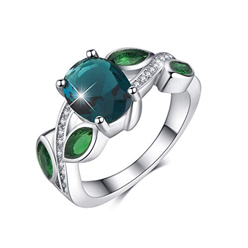 MadeOne 18K white gold plating excellent cut CZ stone Rainbow gemstone Topaz & Emerald Ring Wedding Engagement Ring for women with box packing size 6-10 (Peacock blue, 7)