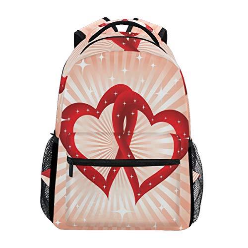 Ahomy Rucksack Valentinstag Doppelherz Rucksack Schultasche für Mädchen Jungen Frauen Ideal Reise Tag Schulrucksack