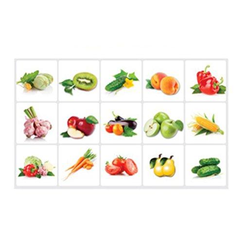 OUNONA Wandaufkleber Küchen Aufkleber AntiPaste Wasserdichte abnehmbare Wandaufkleber Decals Wallpaper Fliesen Dekor (Gemüse Obst)
