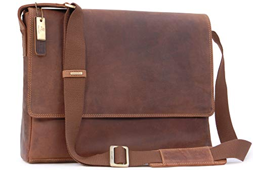 VISCONTI - East/West A4 Messenger / 15' Laptop Bag - Hunter Leather - Hardwearing/Shoulder/Cross Body/Business/Office/Work Bag/Leisure - 18516 - Texas (L) - Oil Tan