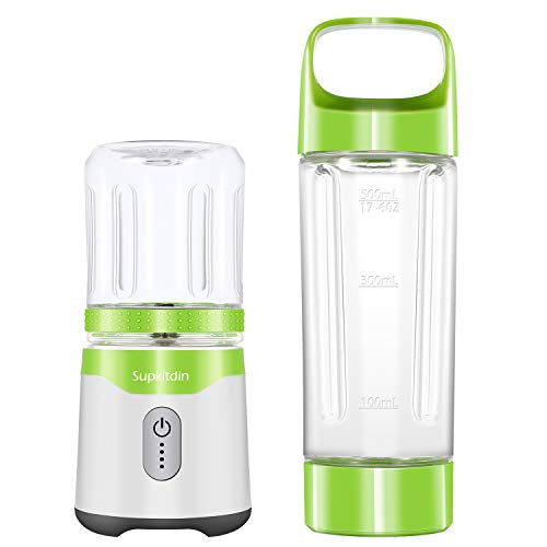 Supkitdin Personal Portable Blender for for Shakes and Smoothies,with 2 FDA Approved Cups, Rechargeable, Powerful 6 Blades for Superb Mixing(Green), Green, Green