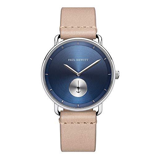 PAUL HEWITT Armbanduhr Männer Edelstahl Breakwater Navy Sunray - Herren Uhr Lederarmband (Sandfarben), Silberne Herren Armbanduhr, blaues Ziffernblatt