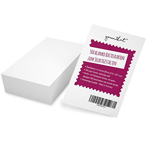 Juego de 50 cajas de cartón para manualidades DIN A4 – DIY I para manualidades, pintar y escribir para scrapbook-ing y mucho más I blanco I dv_368