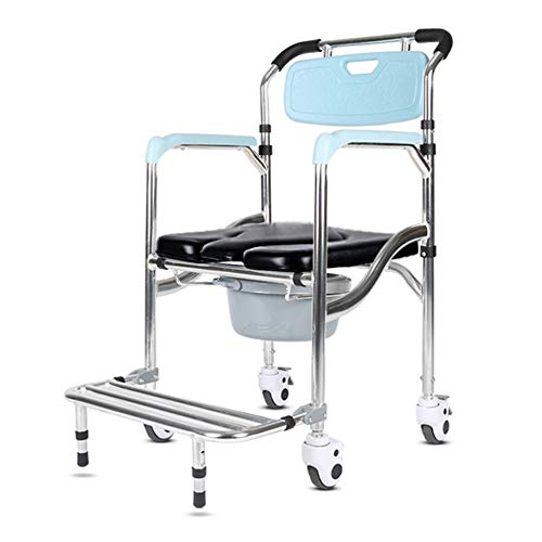 Toilettenstuhl, klappbarer Kommodenstuhl Toilettenheber, höhenverstellbar, mit Rädern und Pedalen, geeignet für ältere Menschen, Patienten, schwangere Frauen/A / 56x65x98cm