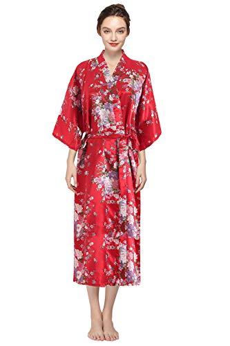 YAOMEI Mujer Vestido Kimono Satén Larga, Camisón para Mujer Sedoso Pavo & Flores Robe Albornoz Dama de Honor Ropa de Dormir Pijama Versión extendida (One Size, A-Rojo)
