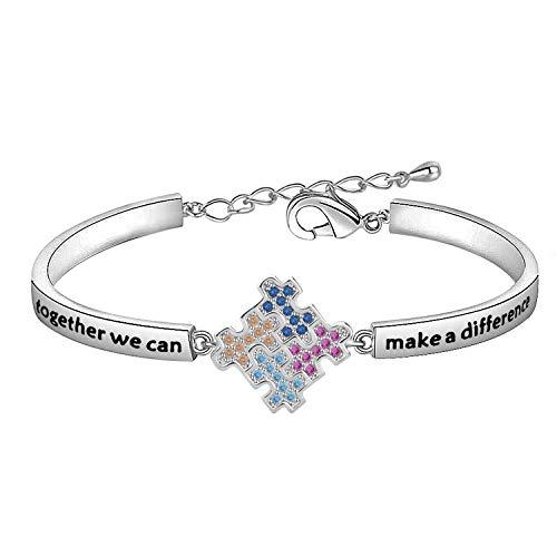 Autism Awareness Puzzle Lariat Necklace Motivational Autism Gift (Bracelet Silver)