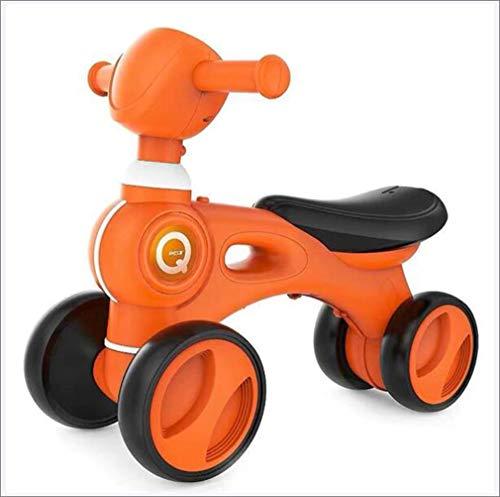 JDLAX Balance Auto Roller Fahrt auf Spielzeug Infant Shining Kinder Baby Walker mit Musik Vier Räder Plastik Fahrradanzug für 1-3 Jahre,Orange