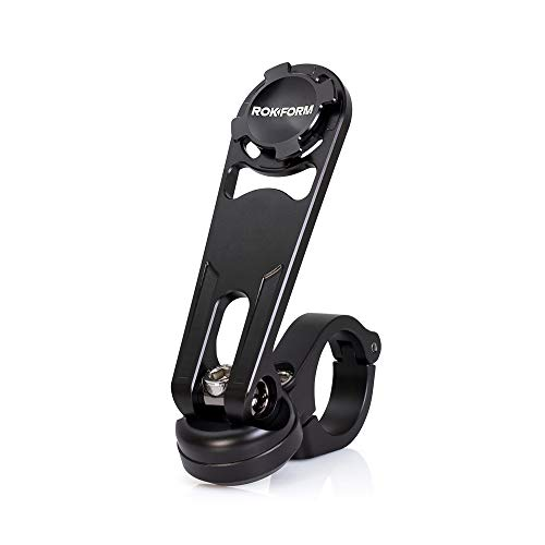 """Rokform - Motorcycle Handlebar Cell Phone Mount, Mounts to ANY Handlebar Measuring from 7/8"""" to 1-1/4"""", Secures Phone Via Quad Tab Twist Lock Mount and Built-In Magnet Mount (Black)"""