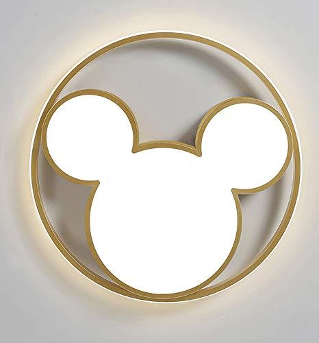 Or LED chambre d'enfants plafonnier dimmable 3000K-6000K acrylique abat-jour dessin animé Disney Mickey créatif chambre plafonnier garçon fille maternelle salon intérieur lampe décorative Ø45cm 34w