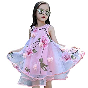Moonker Kids Girls Summer Sundress Casual Dress Clothes 4-13 Years Old Child Flower Pageant Wedding Party Evening Dress  10-11 Years Old Pink