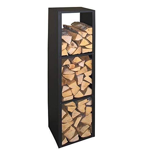 Kaminholzregal Brennstoffregal Holzaufbewahrung Metall Schwarz Beschichtet Holzregal Holzkorb Kaminzubehör