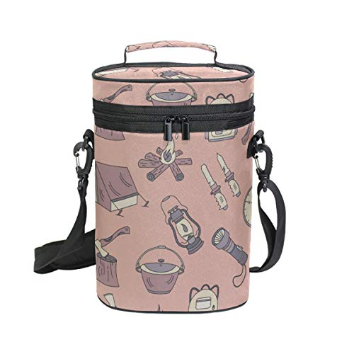 2 Bottle Insulated Wine Ziplock Travel Bag Beautiful Small Fishing Tackle Tools Print Best Wine Cooler Bag Travel Tote Bag For Beer Champagne -perfect Wine Lover's Gift