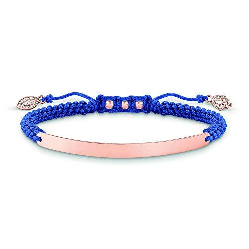 Thomas Sabo Damen-Armband Love Bridge 925 Sterling Silber 750 rosegold vergoldet Nylon Zirkonia weiß blau Länge von 12 bis 19 cm Brücke 5 cm LBA0068-898-1-L19v