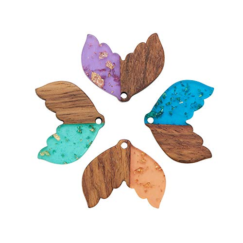 DanLingJewelry 20 colgantes de madera de resina transparente de colores con forma de cola de pez de ballena con hoja de oro para hacer joyas de bricolaje
