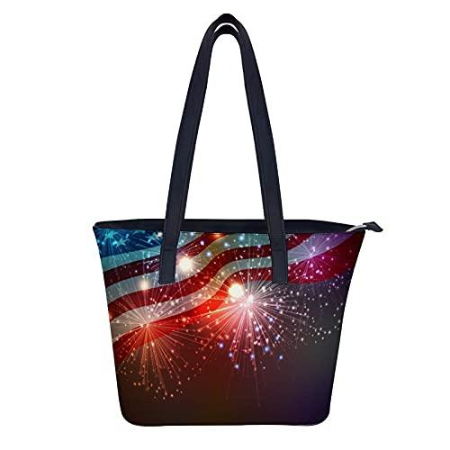 DIYOF Grands sacs fourre-tout en cuir pour femmes portent des sacs à bandoulière Sacs à main, feux d'artifice