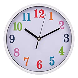 Jucoan 10 Inch Colorful Kid Wall Clock Silent Decorative Clock Non Ticking Quartz Battery Operated for Children Bedroom, Nursery Room, School, Home