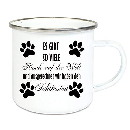 Crealuxe XXL - Emaille Tasse mit Rand Es gibt so viele Hunde auf der Welt und ausgerechnet wir haben den Schönsten - große Kaffeetasse mit Motiv, Campingtasse Bedruckte Emailletasse mit Wunschname