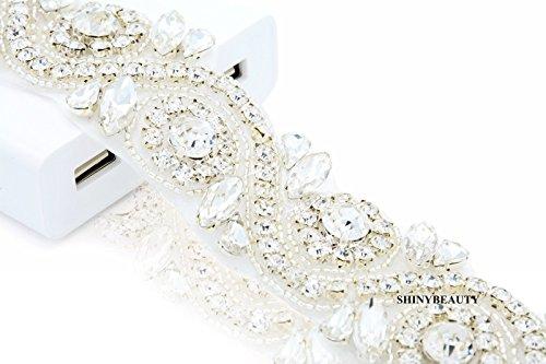 ShinyBeauty Hochzeit Schärpe Strass Applique Trim Strass Applique für Hochzeitskleid (Silber-245)