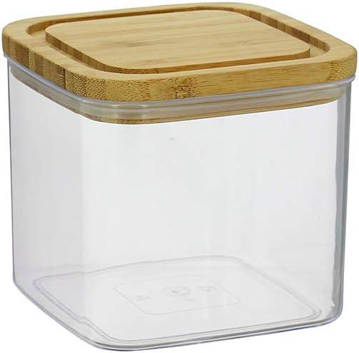 3pcs vie urbaine 800 ml Carré Boîte de rangement en plastique Conteneur hermétique bambou couvercle