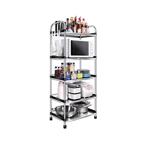 LBYMYB Estante de cocina de acero inoxidable estante de cocina de 5 capas para microondas y horno, marco de metal para almacenamiento de cocina, estante de...