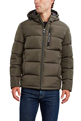 Nautica Men's Water Resistant Hooded Parka Jacket, Loden, Medium