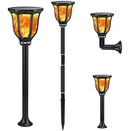Zubita Llama Solar Luces para Exteriores, Luz Solar Exterior Jardin Efecto de Llama Realista Impermeable Solares Luz de Llama 96 LED Para Patio, Césped, Pasillo
