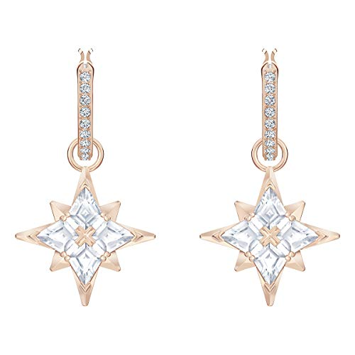 Swarovski Symbolic Collection Women's Dangling Mini Hoop Pierced Earrings, Rose-Gold Tone Plated with White Crystal Accents