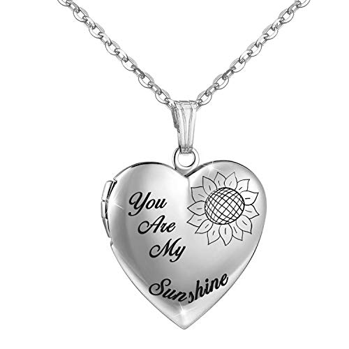 YOUFENG You are My Sunshine Necklace Sunflower Locket Necklace That Holds Pictures Heart Locket Pendant Gifts for Girls (Silver Sunflower Locket)